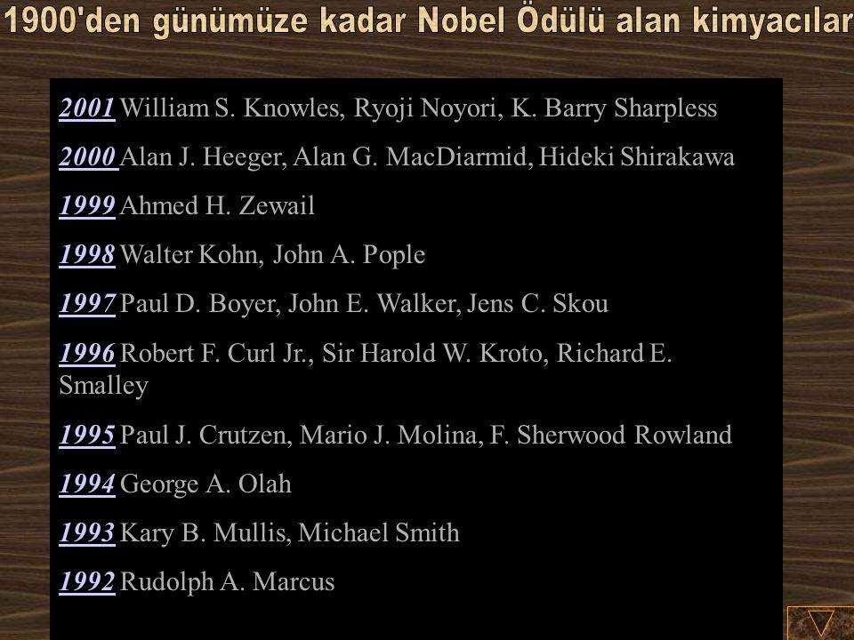 1900 den günümüze kadar Nobel Ödülü alan kimyacılar