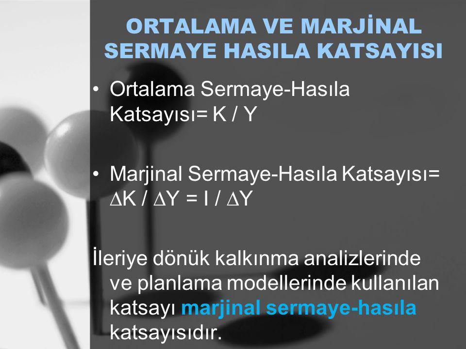 ORTALAMA VE MARJİNAL SERMAYE HASILA KATSAYISI