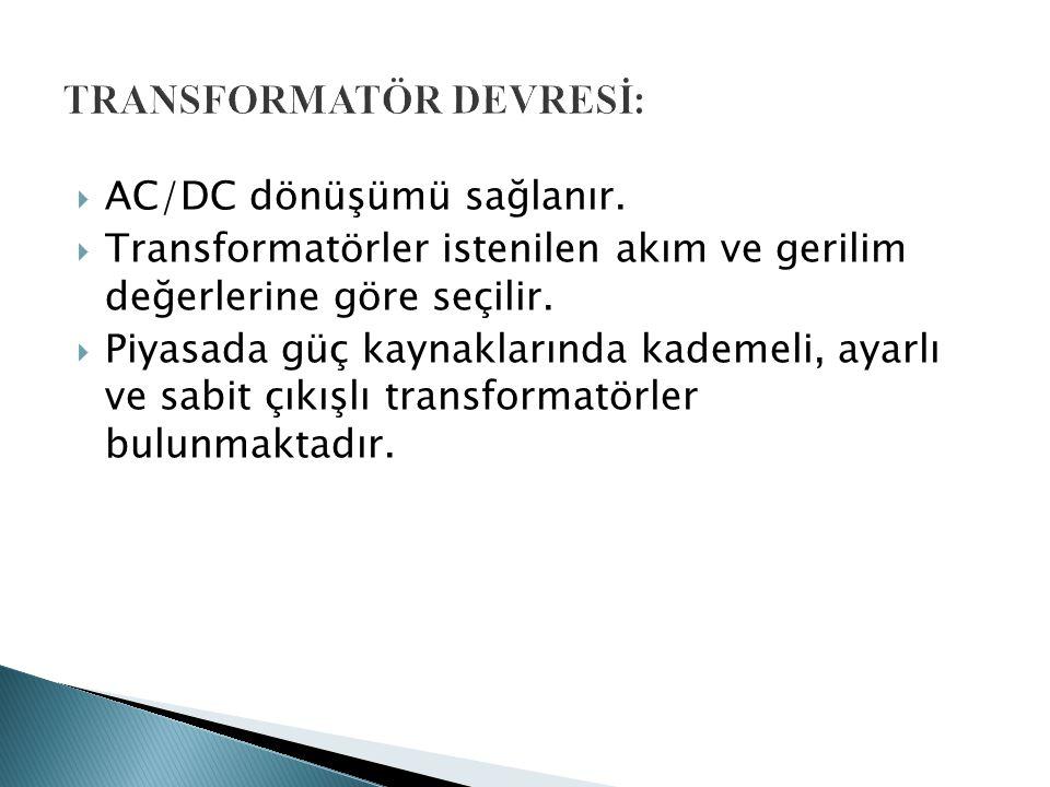TRANSFORMATÖR DEVRESİ: