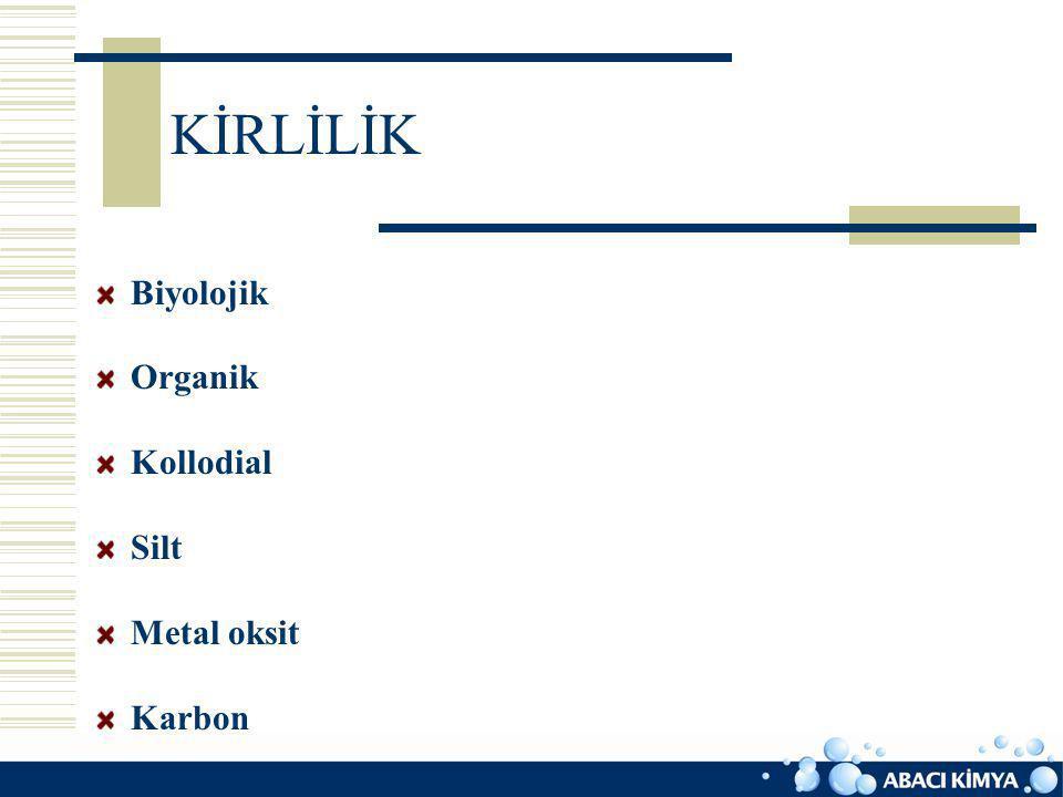 KİRLİLİK Biyolojik Organik Kollodial Silt Metal oksit Karbon