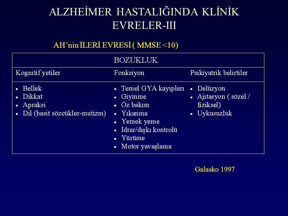 ALZHEİMER HASTALIĞINDA KLİNİK EVRELER-III
