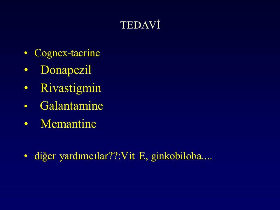 Donapezil Rivastigmin Memantine TEDAVİ Cognex-tacrine Galantamine
