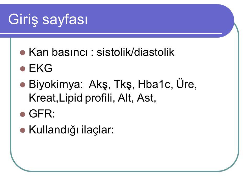Giriş sayfası Kan basıncı : sistolik/diastolik EKG