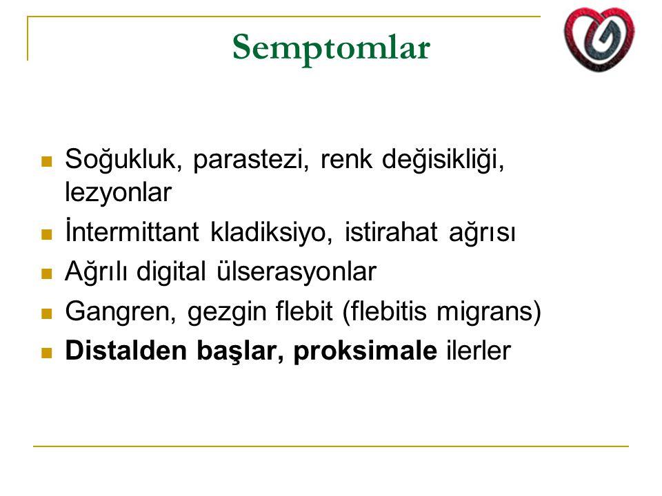 Semptomlar Soğukluk, parastezi, renk değisikliği, lezyonlar