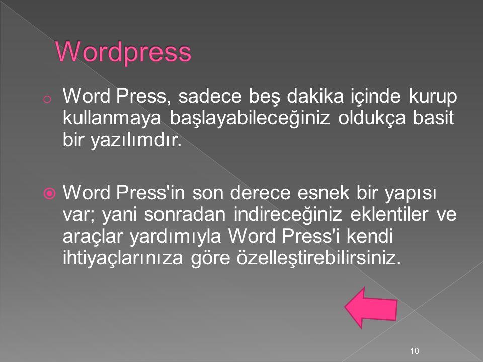 Wordpress Word Press, sadece beş dakika içinde kurup kullanmaya başlayabileceğiniz oldukça basit bir yazılımdır.