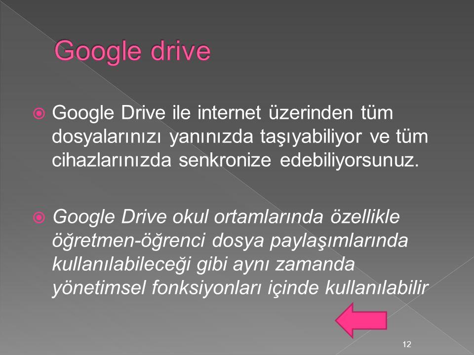 Google drive Google Drive ile internet üzerinden tüm dosyalarınızı yanınızda taşıyabiliyor ve tüm cihazlarınızda senkronize edebiliyorsunuz.