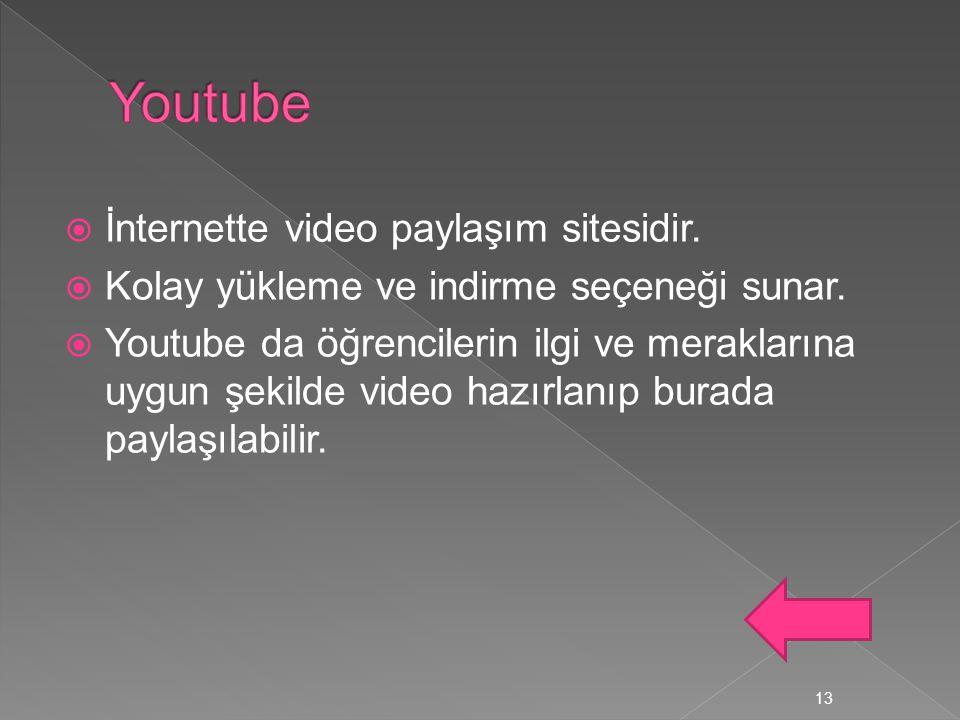 Youtube İnternette video paylaşım sitesidir.