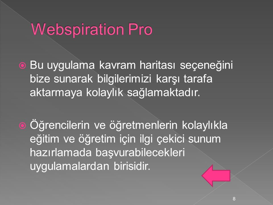 Webspiration Pro Bu uygulama kavram haritası seçeneğini bize sunarak bilgilerimizi karşı tarafa aktarmaya kolaylık sağlamaktadır.