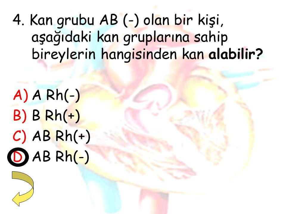 4. Kan grubu AB (-) olan bir kişi, aşağıdaki kan gruplarına sahip bireylerin hangisinden kan alabilir