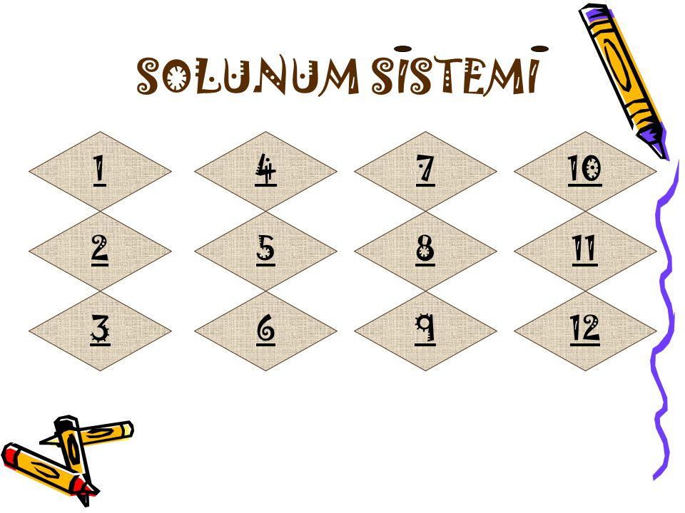 SOLUNUM SISTEMI 1 4 7 10 2 5 8 11 3 6 9 12