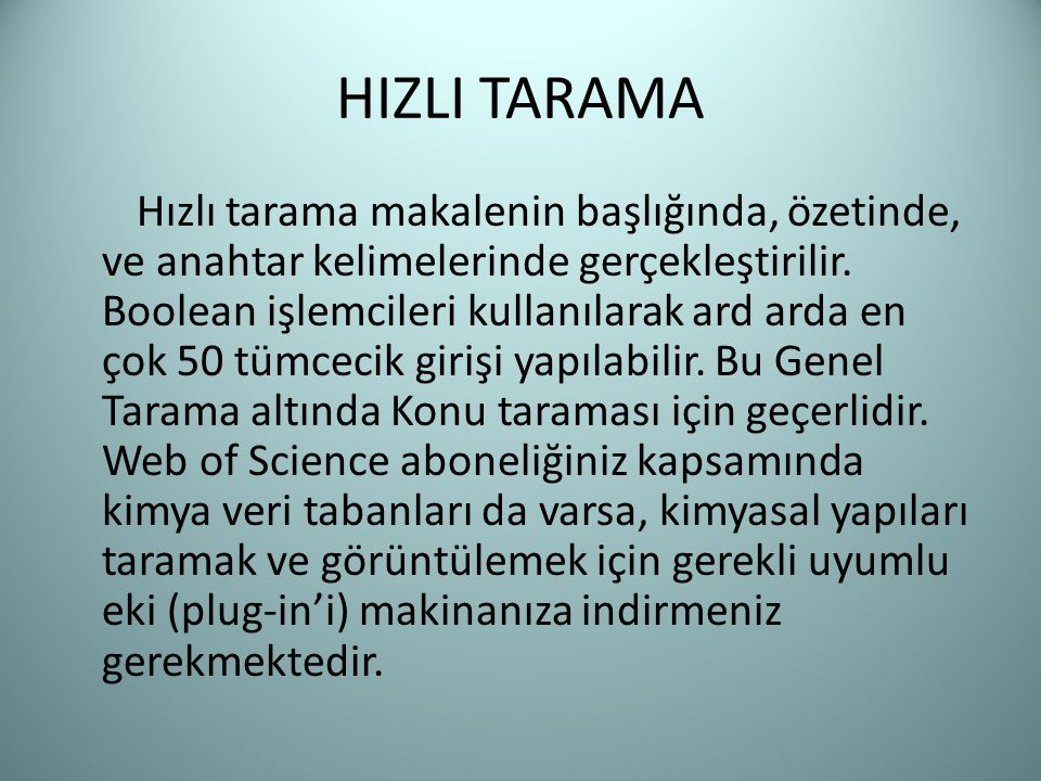 HIZLI TARAMA