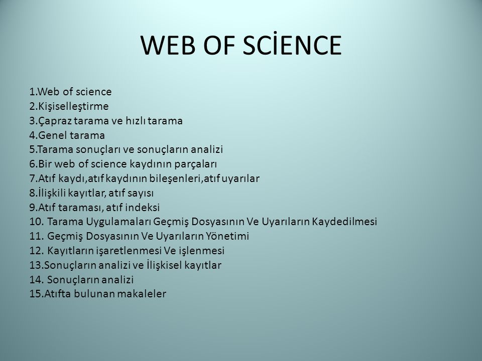 WEB OF SCİENCE