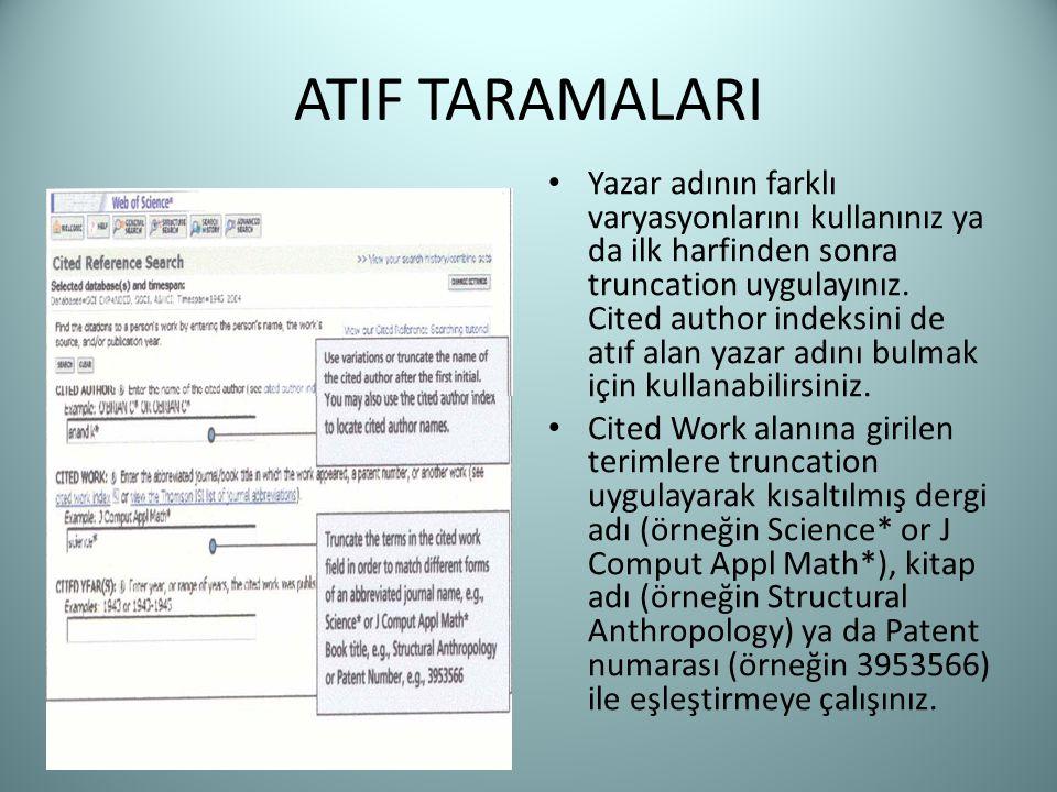 ATIF TARAMALARI