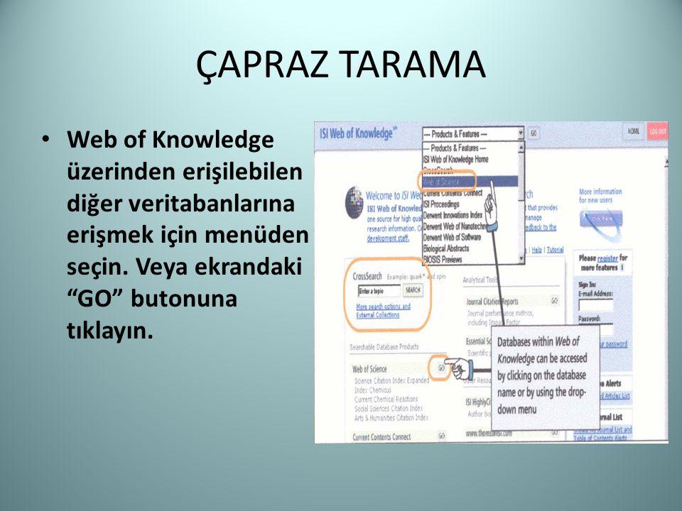 ÇAPRAZ TARAMA Web of Knowledge üzerinden erişilebilen diğer veritabanlarına erişmek için menüden seçin.