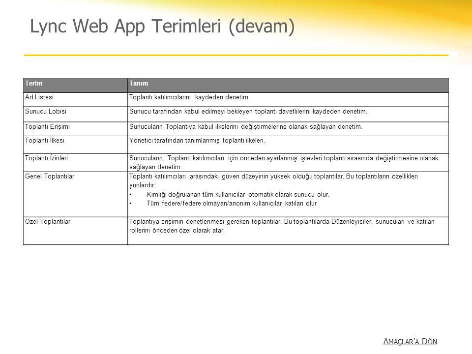 Lync Web App Terimleri (devam)