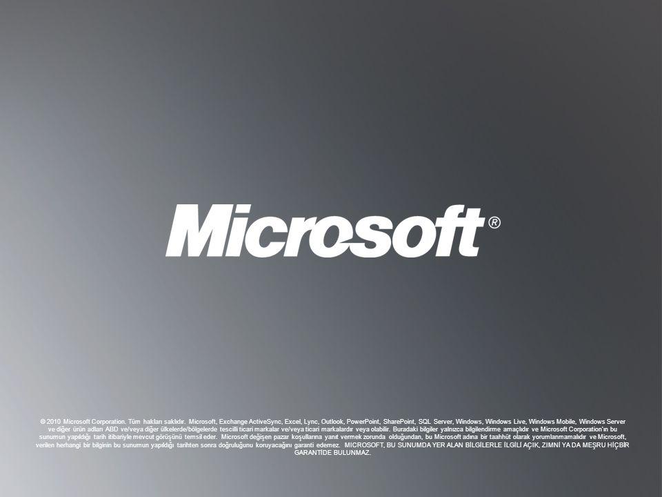 © 2010 Microsoft Corporation. Tüm hakları saklıdır