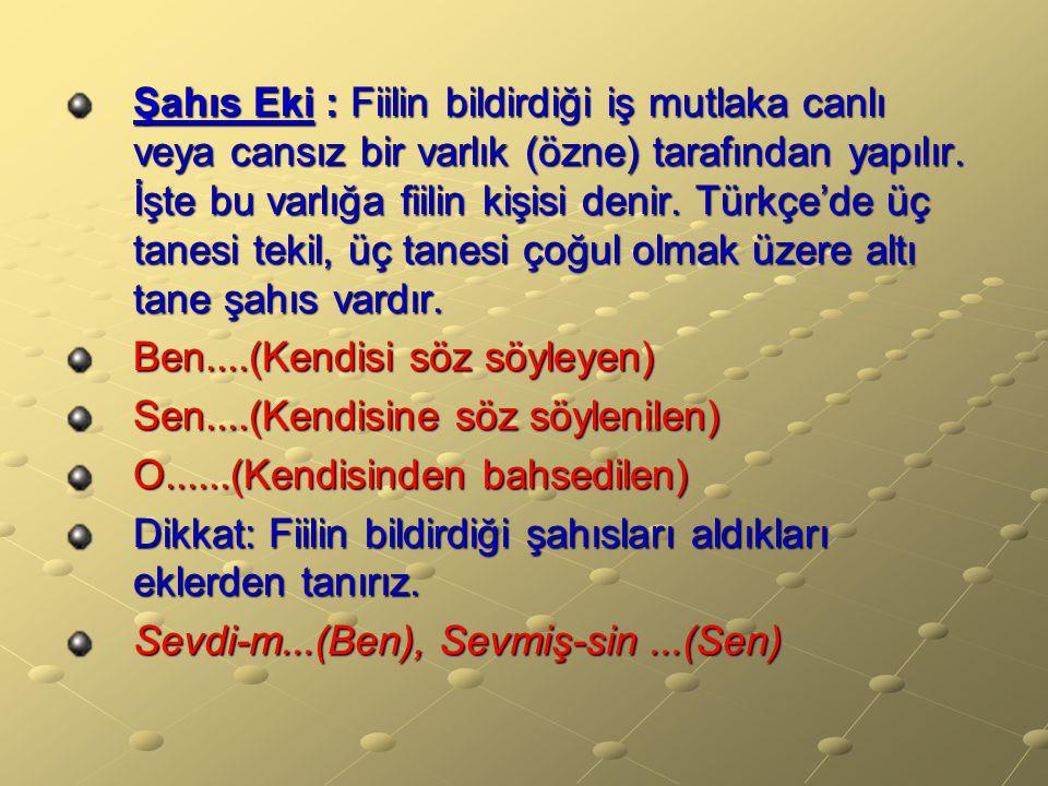Şahıs Eki : Fiilin bildirdiği iş mutlaka canlı veya cansız bir varlık (özne) tarafından yapılır. İşte bu varlığa fiilin kişisi denir. Türkçe'de üç tanesi tekil, üç tanesi çoğul olmak üzere altı tane şahıs vardır.