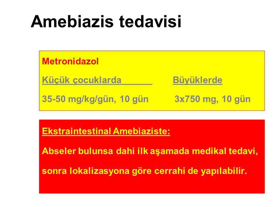 Amebiazis tedavisi Metronidazol Küçük çocuklarda Büyüklerde