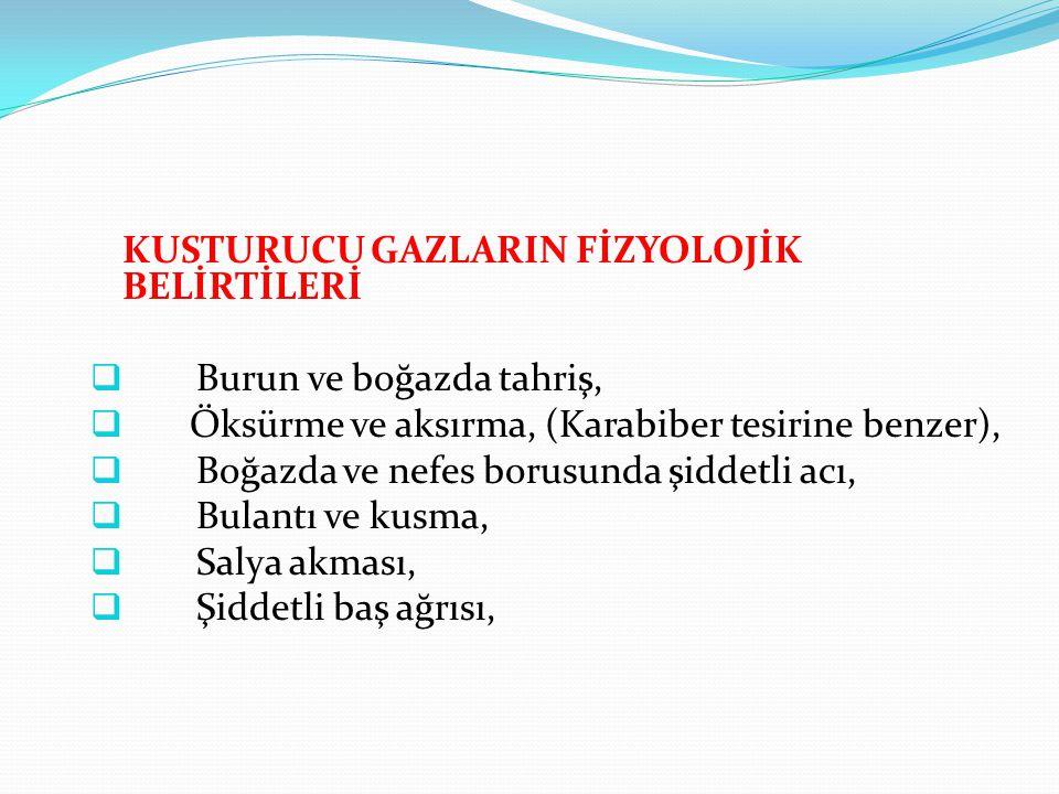 KUSTURUCU GAZLARIN FİZYOLOJİK BELİRTİLERİ