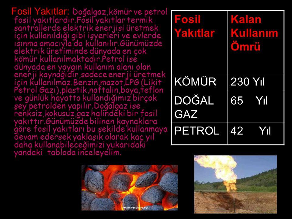 Fosil Yakıtlar Kalan Kullanım Ömrü KÖMÜR 230 Yıl DOĞAL GAZ 65 Yıl