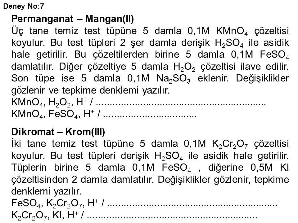 Permanganat – Mangan(II)