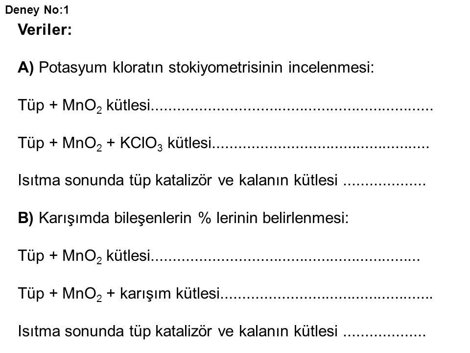 A) Potasyum kloratın stokiyometrisinin incelenmesi: