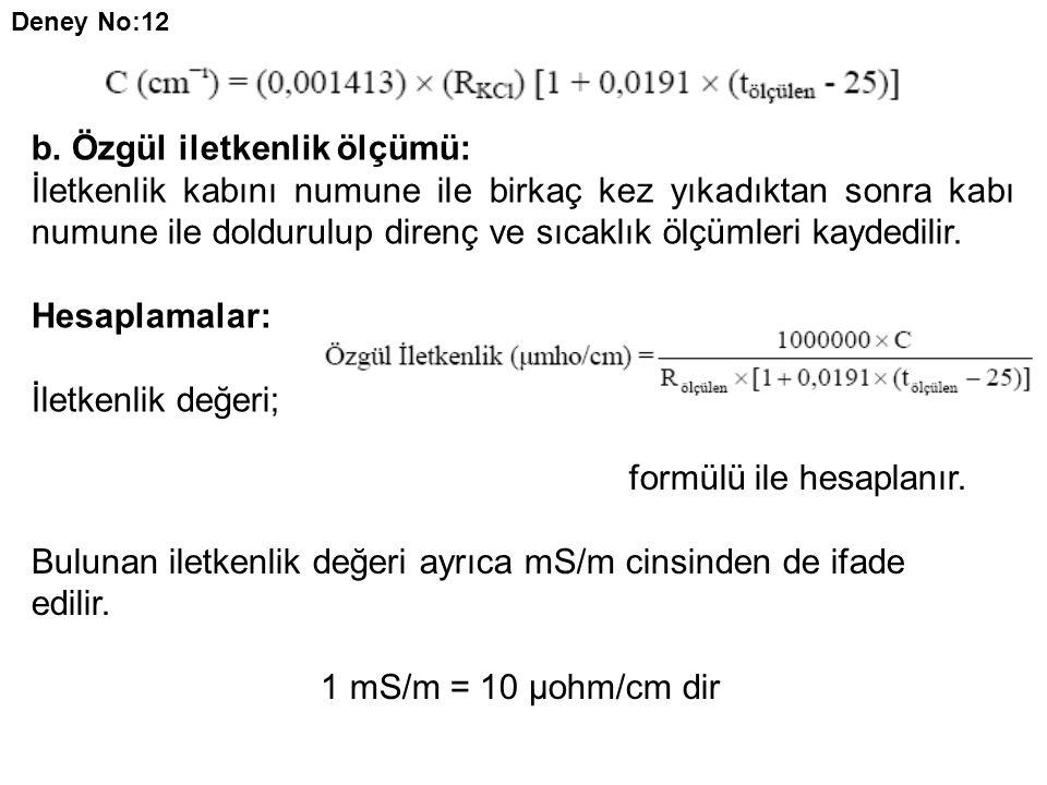 b. Özgül iletkenlik ölçümü: