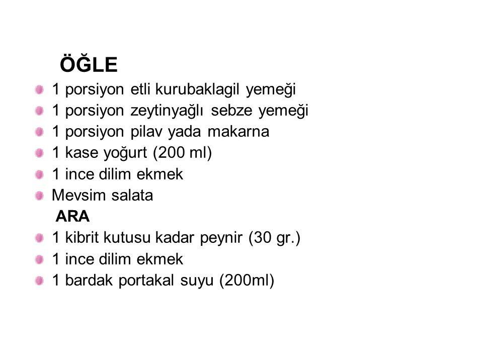 ÖĞLE 1 porsiyon etli kurubaklagil yemeği