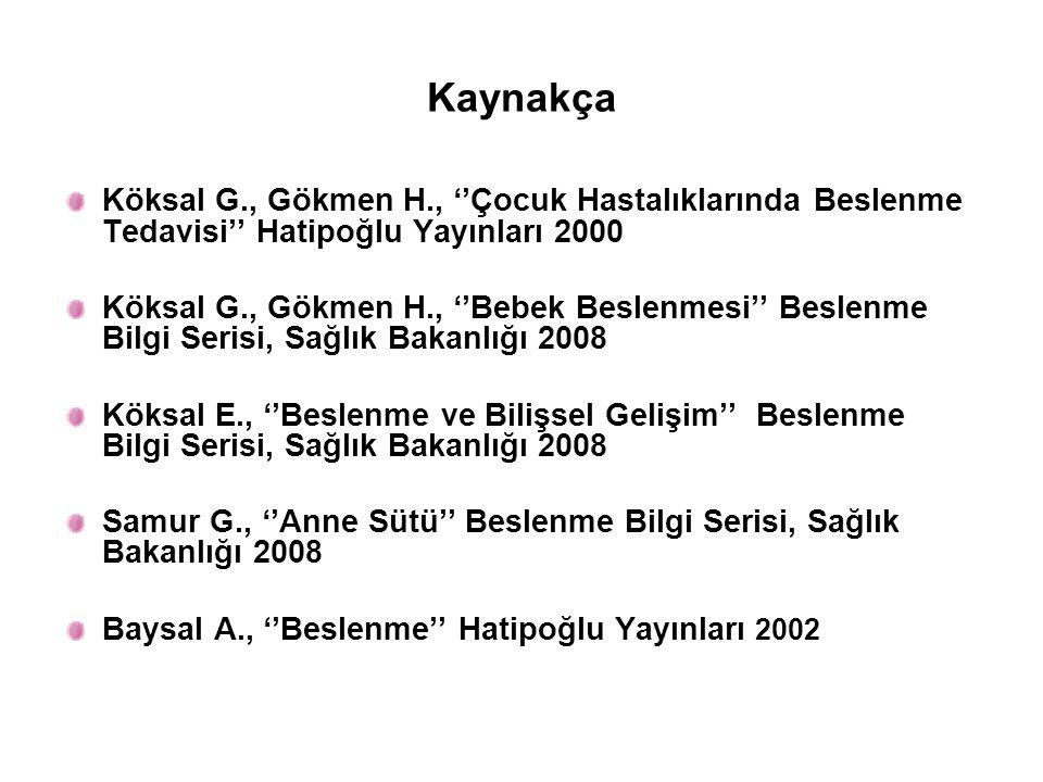 Kaynakça Köksal G., Gökmen H., ''Çocuk Hastalıklarında Beslenme Tedavisi'' Hatipoğlu Yayınları 2000.