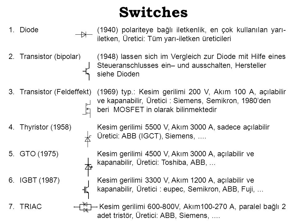 Switches Diode (1940) polariteye bağlı iletkenlik, en çok kullanılan yarı- iletken, Üretici: Tüm yarı-iletken üreticileri.