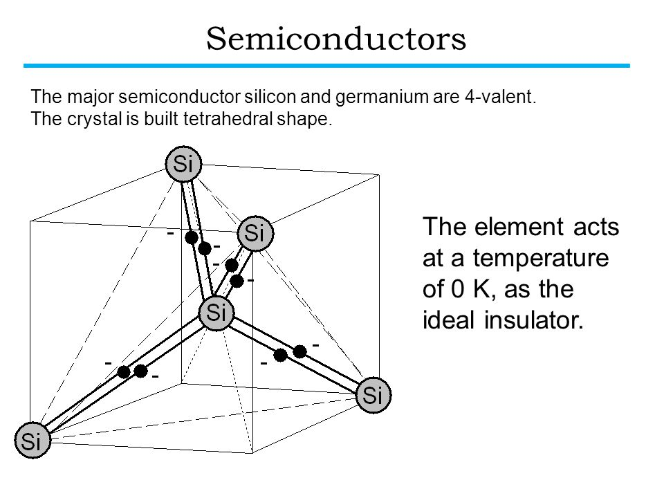 Semiconductors The major semiconductor silicon and germanium are 4-valent. The crystal is built tetrahedral shape.
