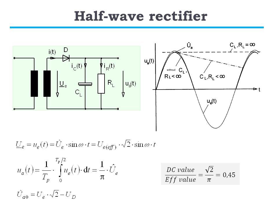 Half-wave rectifier 𝐷𝐶 𝑣𝑎𝑙𝑢𝑒 𝐸𝑓𝑓 𝑣𝑎𝑙𝑢𝑒 = 2 𝜋 =0,45