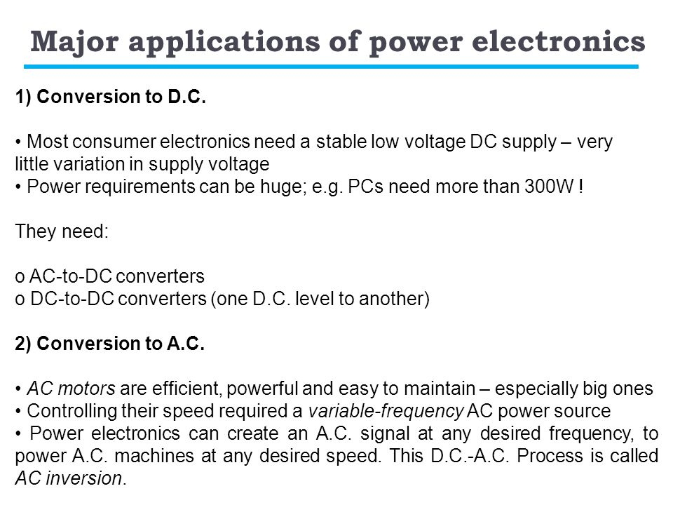Major applications of power electronics