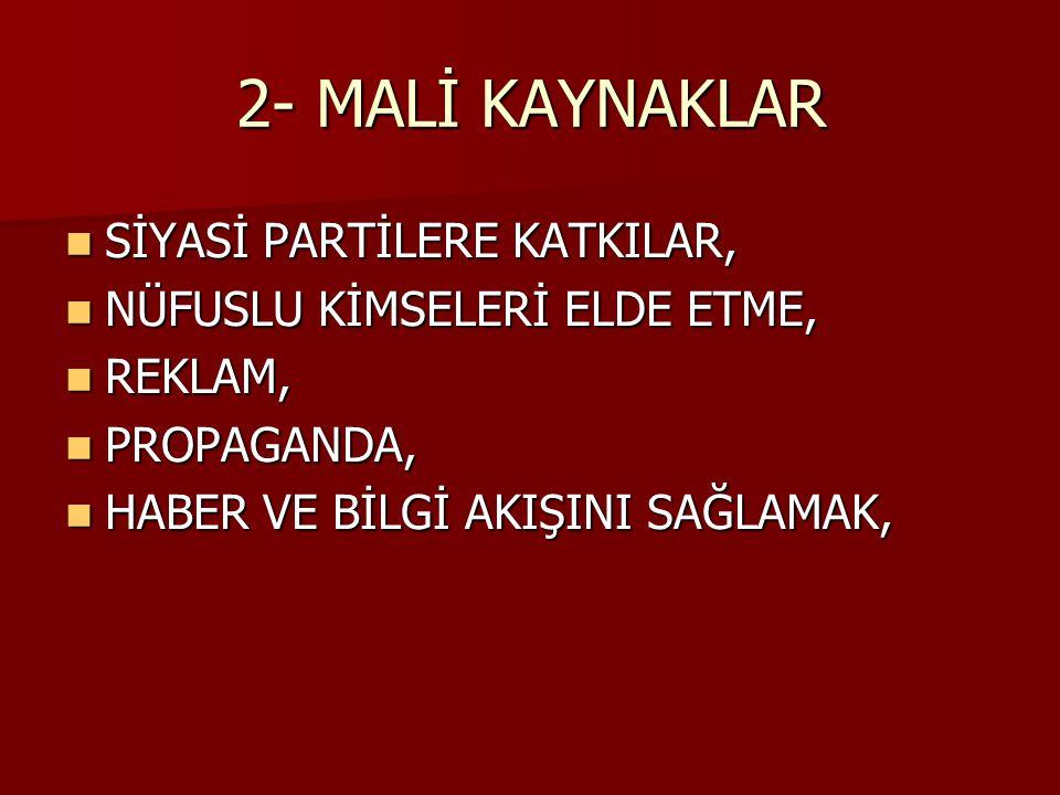 2- MALİ KAYNAKLAR SİYASİ PARTİLERE KATKILAR,