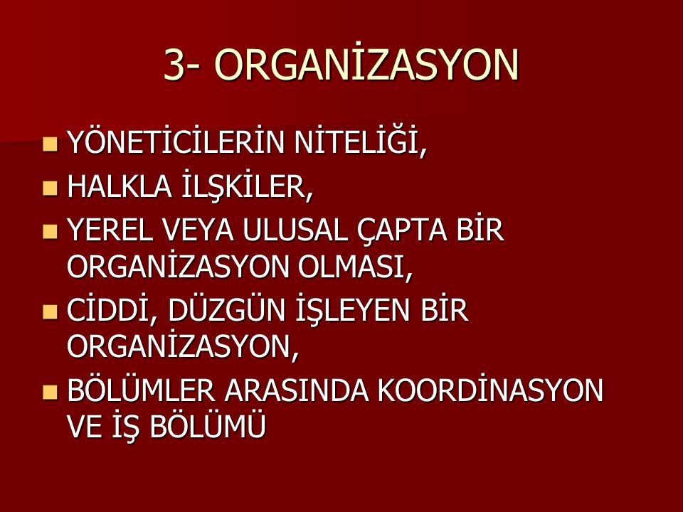 3- ORGANİZASYON YÖNETİCİLERİN NİTELİĞİ, HALKLA İLŞKİLER,