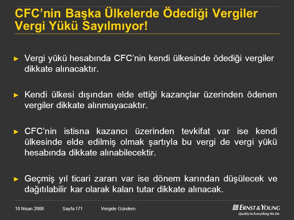 CFC'nin Başka Ülkelerde Ödediği Vergiler Vergi Yükü Sayılmıyor!