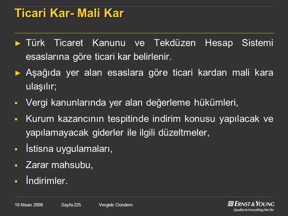 Ticari Kar- Mali Kar Türk Ticaret Kanunu ve Tekdüzen Hesap Sistemi esaslarına göre ticari kar belirlenir.
