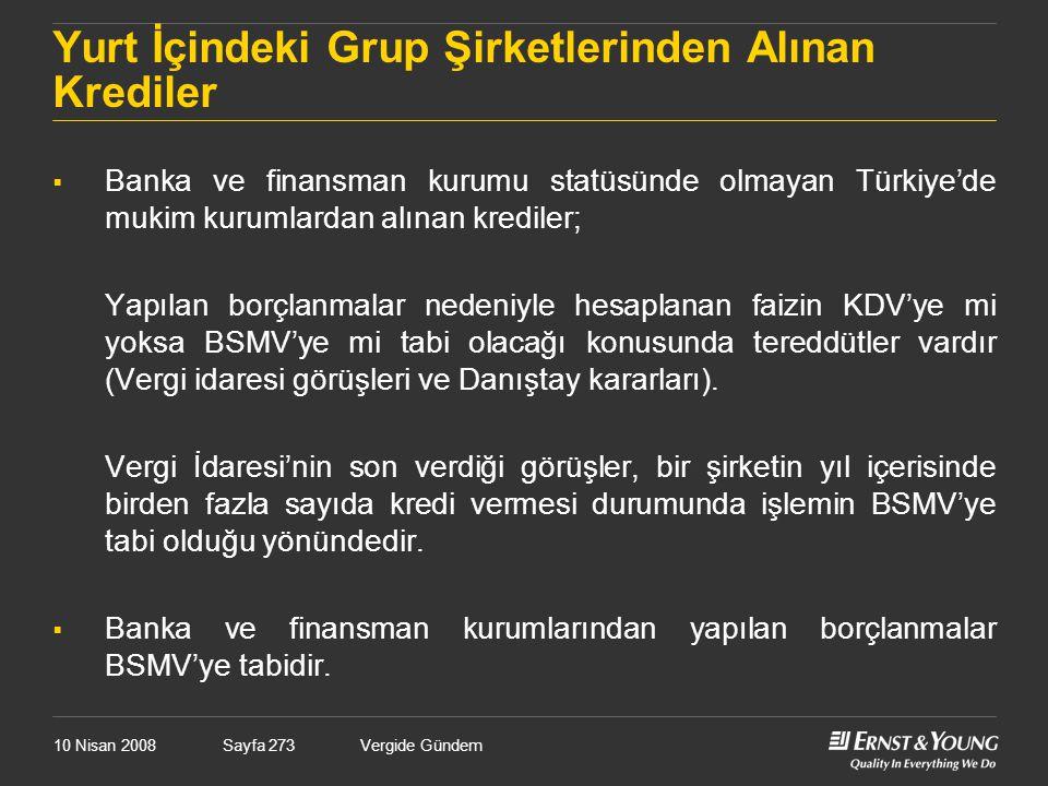 Yurt İçindeki Grup Şirketlerinden Alınan Krediler