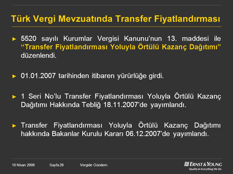Türk Vergi Mevzuatında Transfer Fiyatlandırması