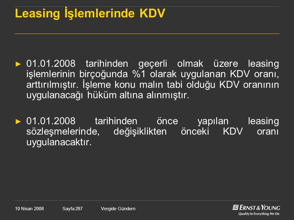 Leasing İşlemlerinde KDV