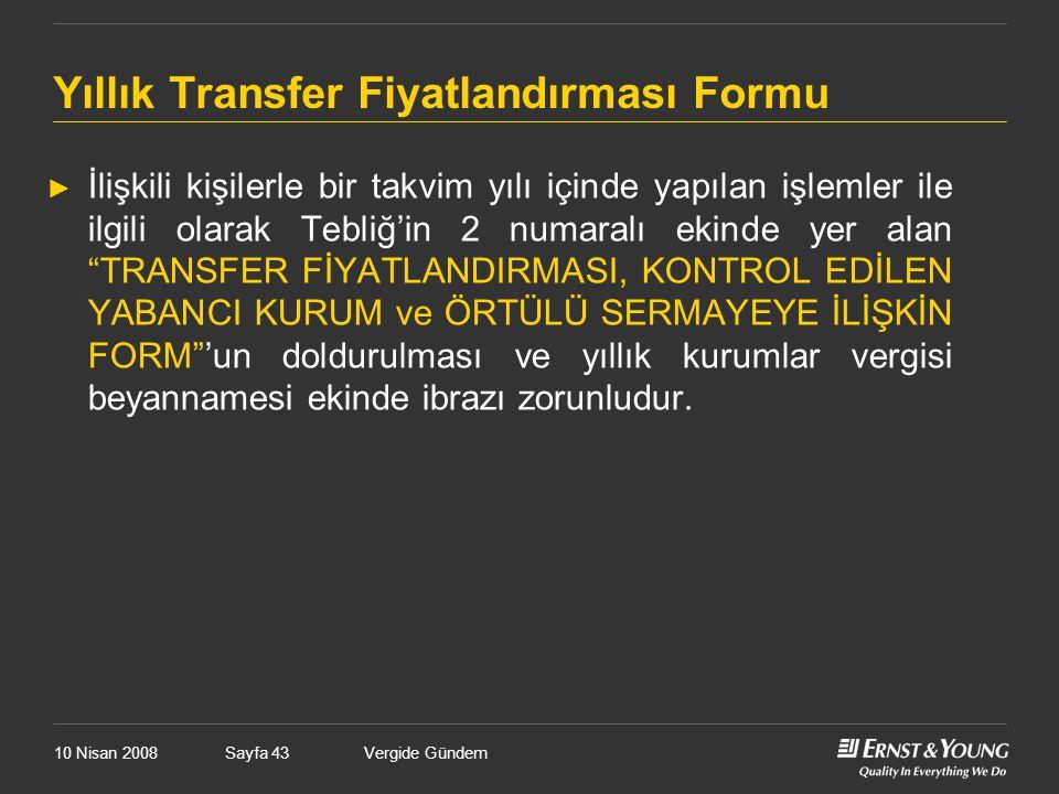 Yıllık Transfer Fiyatlandırması Formu