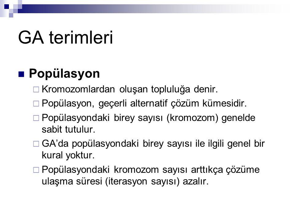 GA terimleri Popülasyon Kromozomlardan oluşan topluluğa denir.