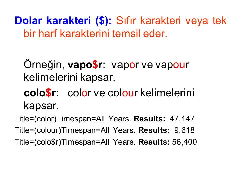 Örneğin, vapo$r: vapor ve vapour kelimelerini kapsar.