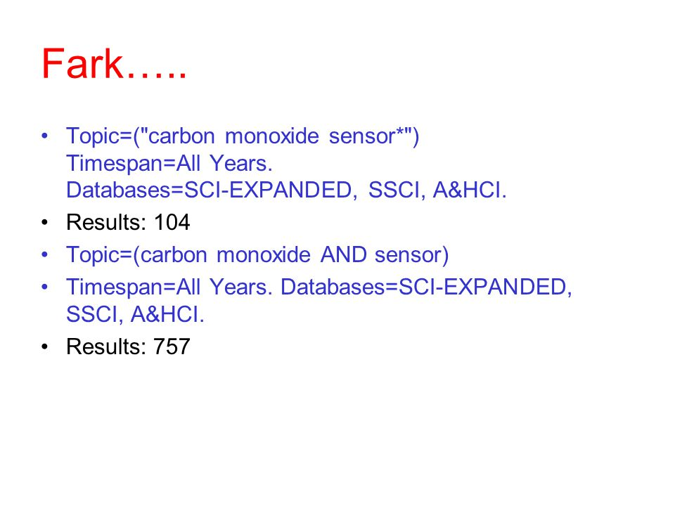 Fark….. Topic=( carbon monoxide sensor* ) Timespan=All Years. Databases=SCI-EXPANDED, SSCI, A&HCI.