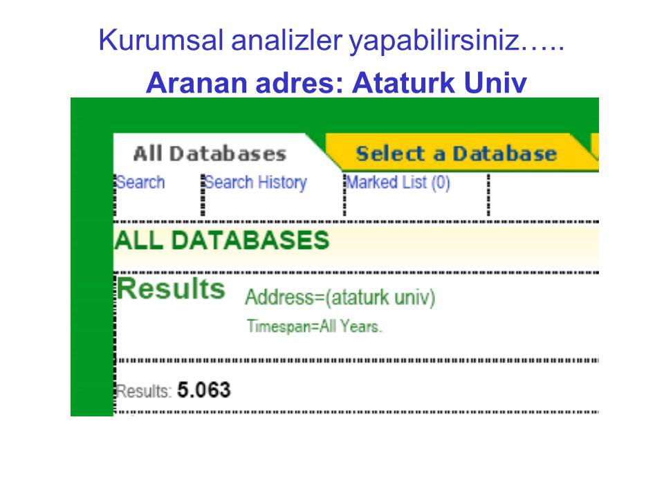 Kurumsal analizler yapabilirsiniz….. Aranan adres: Ataturk Univ