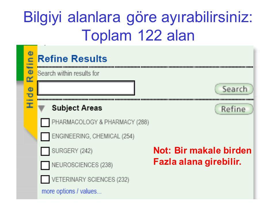 Bilgiyi alanlara göre ayırabilirsiniz: Toplam 122 alan