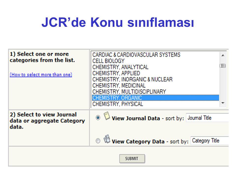 JCR'de Konu sınıflaması