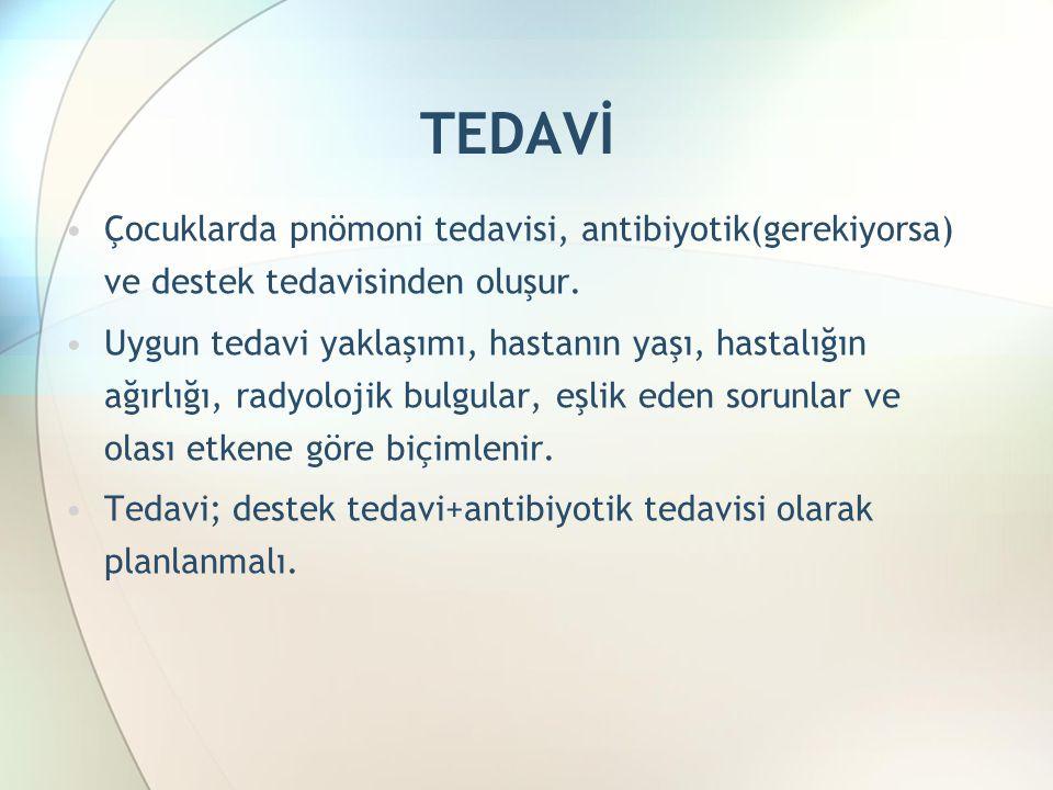 TEDAVİ Çocuklarda pnömoni tedavisi, antibiyotik(gerekiyorsa) ve destek tedavisinden oluşur.