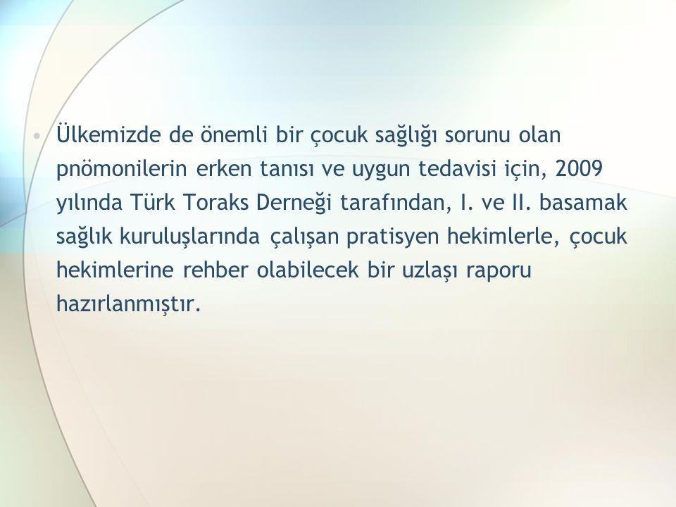 Ülkemizde de önemli bir çocuk sağlığı sorunu olan pnömonilerin erken tanısı ve uygun tedavisi için, 2009 yılında Türk Toraks Derneği tarafından, I.
