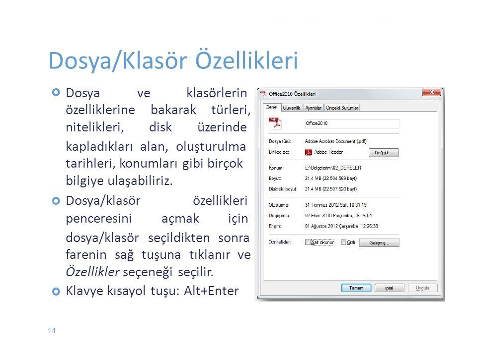 Dosya/Klasör Özellikleri